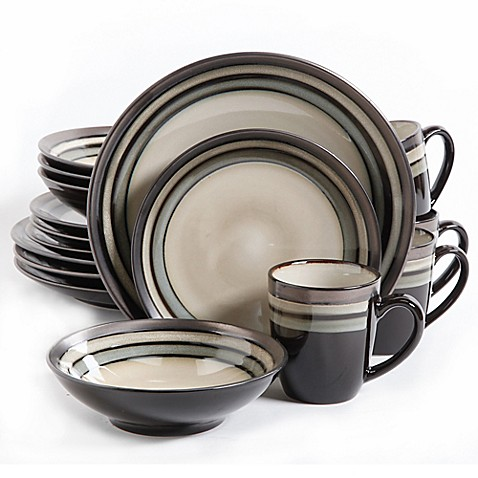 Gibson Elite Lewisville 16-Piece Dinnerware Set in Grey at Bed Bath & Beyond in Cypress, TX | Tuggl