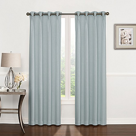 Buy Riverstone Pinch Pleat 84 Inch Grommet Top Window Curtain Panel In Blue From Bed Bath Beyond