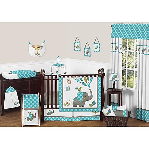 crib bedding sets sweet jojo designs mod elephant 11 piece crib bedding set in turquoise white. Black Bedroom Furniture Sets. Home Design Ideas