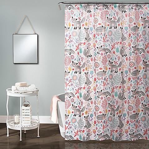 Pixie Fox Shower Curtain In Grey Pink Bed Bath Amp Beyond