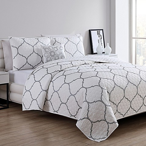 Vcny Home Ogee Twin Quilt Set In Silver by Bed Bath And Beyond