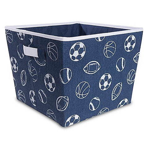 Taylor madison designs all over sports balls storage bin for Navy bathroom bin