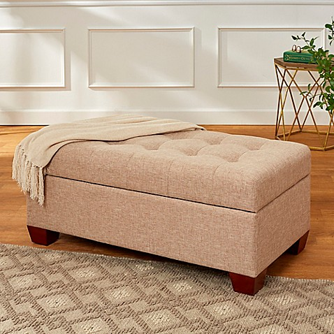 Tufted Lid 40 Inch Storage Bench With Walnut Feet In