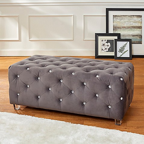 Velvet 42-Inch Bench with Crystal Tufts in Grey at Bed Bath & Beyond in Cypress, TX | Tuggl