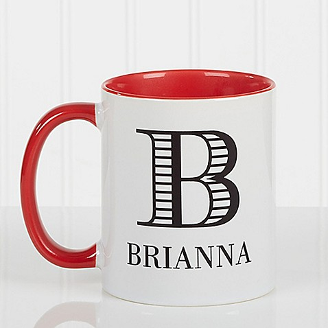 Striped Monogram 11 oz. Coffee Mug in Red at Bed Bath & Beyond in Cypress, TX | Tuggl