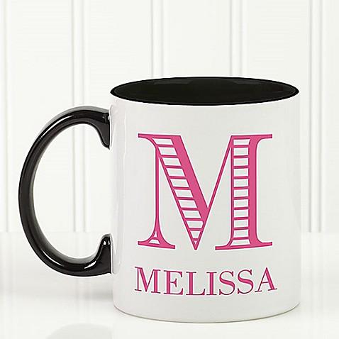 Striped Monogram 11 oz. Coffee Mug in Black at Bed Bath & Beyond in Cypress, TX | Tuggl
