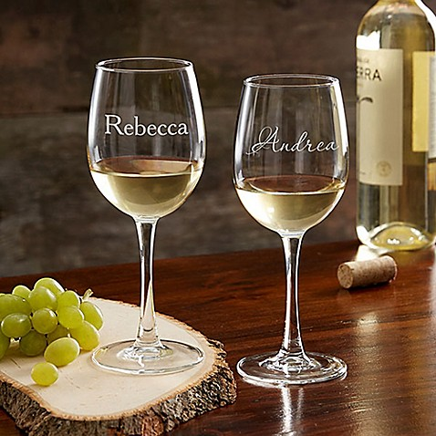 Classic Celebrations 12 oz. White Wine Glass with Name at Bed Bath & Beyond in Cypress, TX | Tuggl