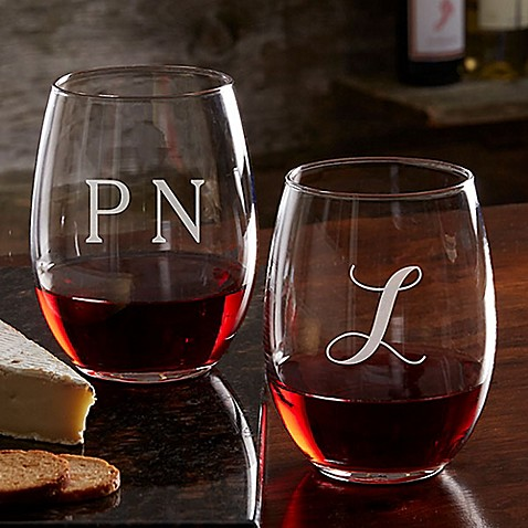 Classic Celebrations 21 oz. Stemless Wine Glass with Monogram at Bed Bath & Beyond in Cypress, TX | Tuggl