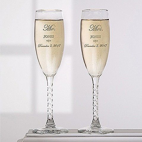 Mr And Mrs Collection Champagne Flutes Set Of 2 Bed