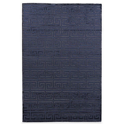 Exquisite Rugs Metro Velvet Square Spiral Rug in Navy at Bed Bath & Beyond in Cypress, TX | Tuggl