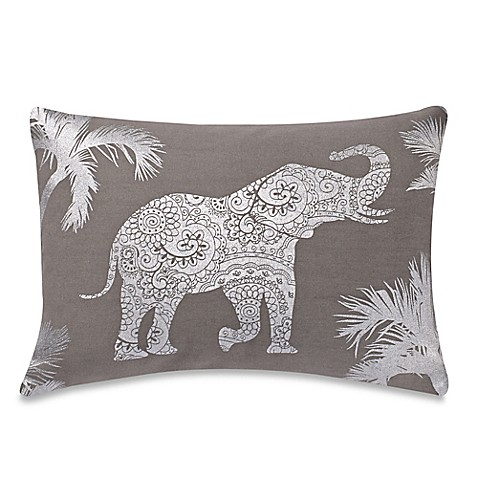 Elephant Throw Pillow Bed Bath And Beyond : Make-Your-Own-Pillow Kandula Elephant Rectangle Throw Pillow Cover in Grey - Bed Bath & Beyond