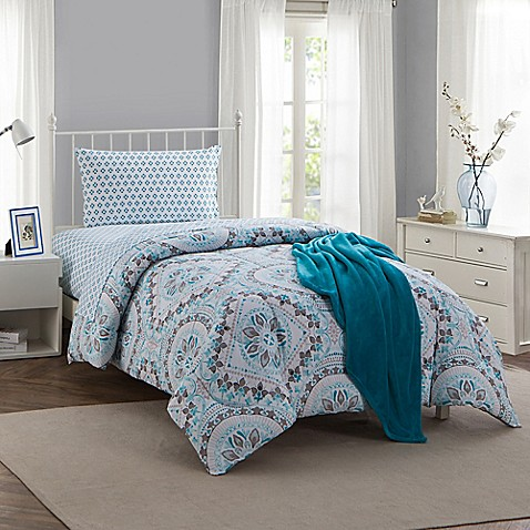 Montoya 16 Piece Twin Twin Xl Comforter Set In Teal Bed