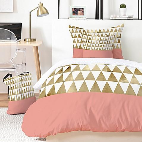 deny designs georgiana paraschiv gold triangles duvet cover set in gold bed bath beyond. Black Bedroom Furniture Sets. Home Design Ideas
