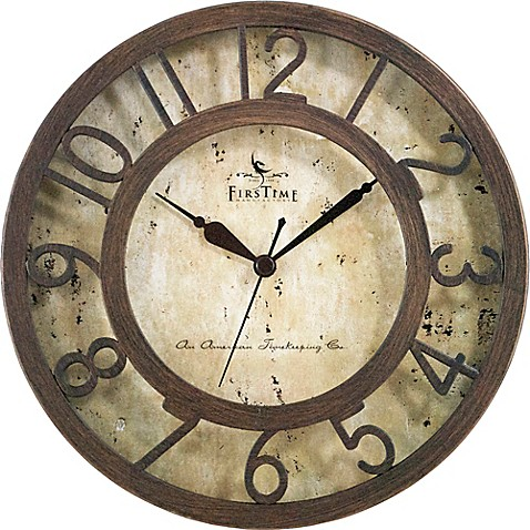 Firstime 174 Brown Crackle Wall Clock In Oil Rubbed Bronze