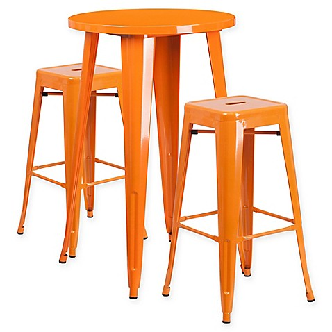 Flash Furniture 3 Piece Round Metal Bar Table And Stackable Stools Set Bed Bath Beyond