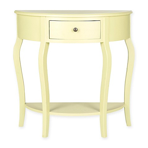 Safavieh jan 1 drawer demilune console table in pea green for Demilune console table with drawers