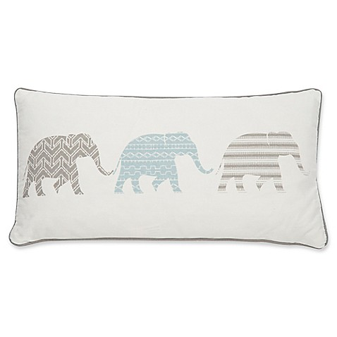Elephant Throw Pillow Bed Bath And Beyond : Levtex Home Sofi Elephants Oblong Throw Pillow in White - Bed Bath & Beyond