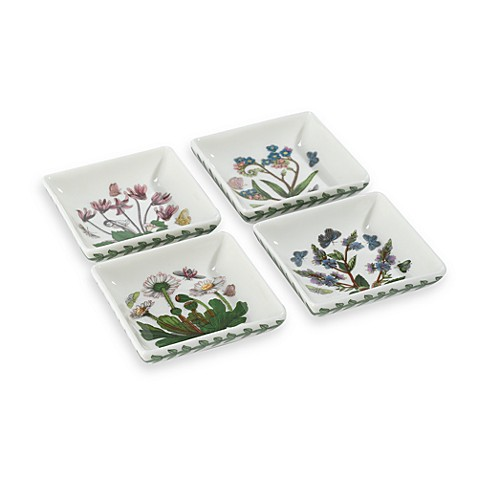 Portmeirion botanic garden square mini dishes set of 4 for Portmeirion dinnerware set of 4 botanic garden canape plates