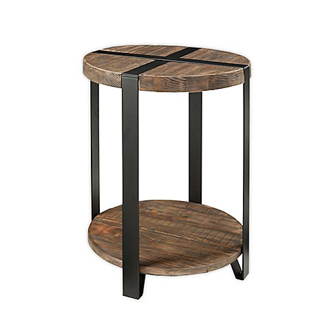 Modesto Metal And Reclaimed Wood 20 Inch Round End Table