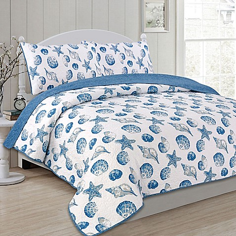 Panama Jack 174 Seashells Reversible Quilt Set Bed Bath