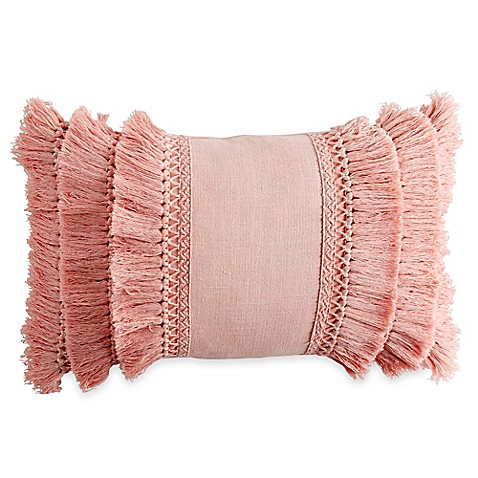 Chenille Lattice Fringe Oblong Throw Pillow in Blush at Bed Bath & Beyond in Cypress, TX | Tuggl