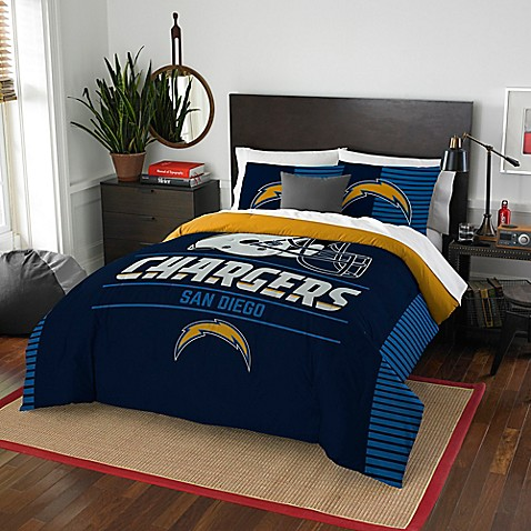Nfl draft san diego chargers full queen comforter set for Bathroom stores san diego