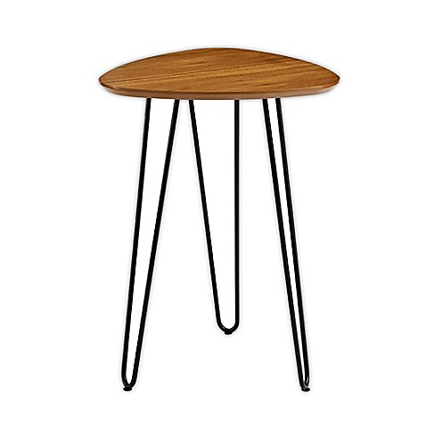 Walker Edison Hairpin Leg Wood Side Table in Walnut at Bed Bath & Beyond in Cypress, TX | Tuggl