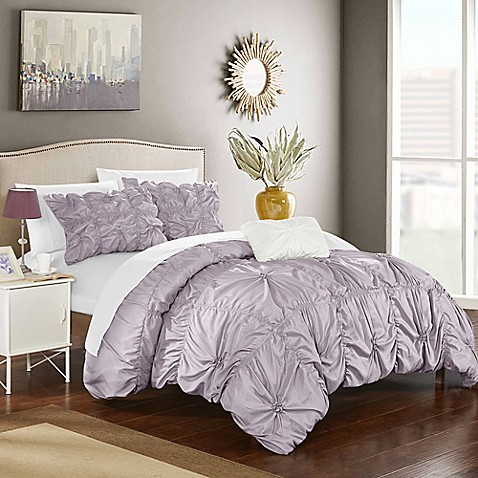 Buy Chic Home Zach Queen Duvet Cover Set In Lavender From