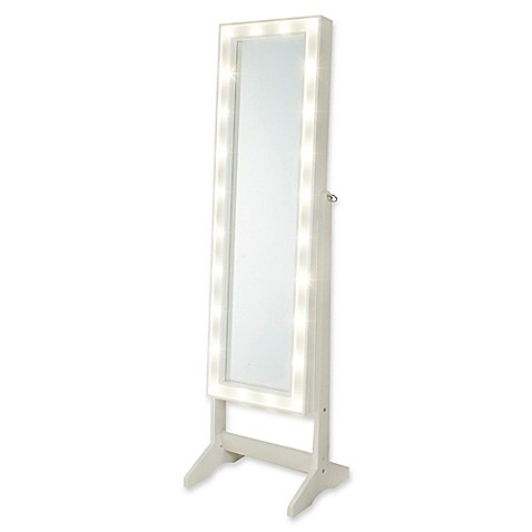 Cheval Freestanding Jewelry Armoire With Led Lights Bed