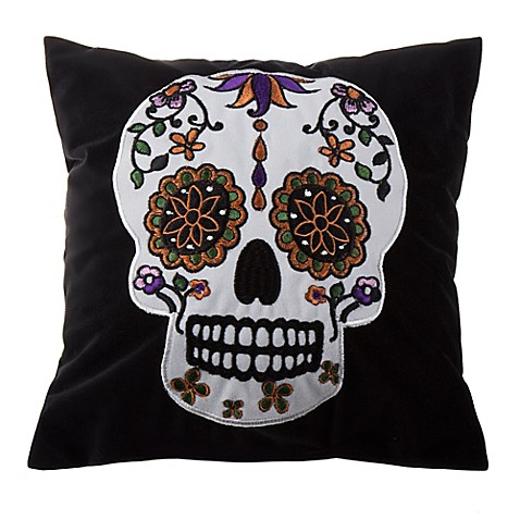 Black Throw Pillows Bed Bath And Beyond : Buy Halloween Sugar Skull Mini Throw Pillow in Black/White from Bed Bath & Beyond