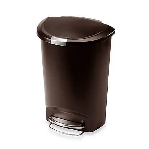 simplehuman plastic semi round 50 liter step on trash can bed bath beyond. Black Bedroom Furniture Sets. Home Design Ideas