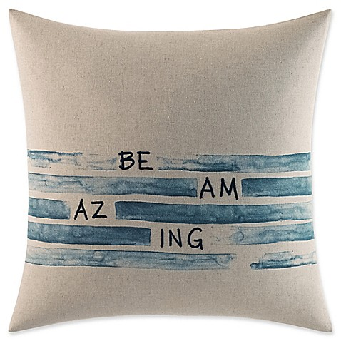 "ED Ellen DeGeneres Nomad Square ""Be Amazing"" Throw Pillow in Ivory at Bed Bath & Beyond in Cypress, TX 