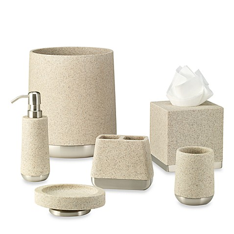 Ampersand lafayette wastebasket in taupe bed bath beyond for Bathroom collection sets