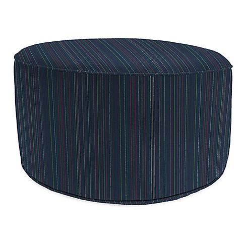 Outdoor round pouf ottoman in sunbrella escapade twilight for Ulani outdoor round pouf ottoman