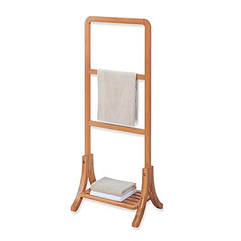 Neu home lohas bamboo free standing towel stand bed bath - Bathroom towel racks free standing ...