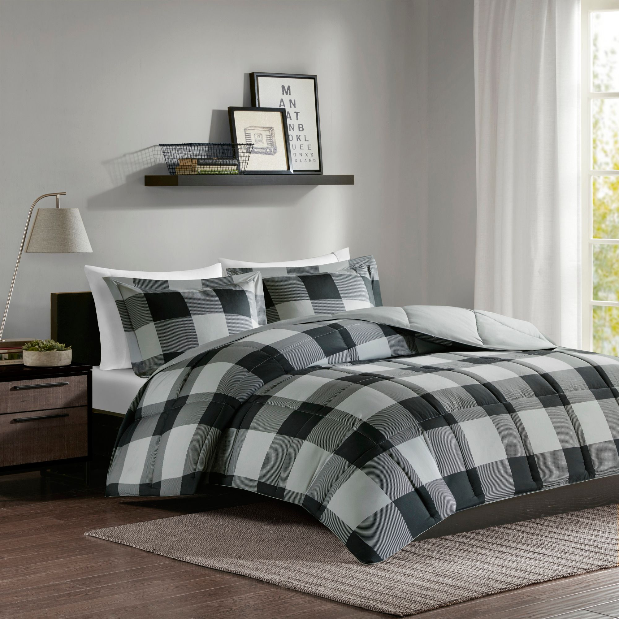 Madison Park Essentials Barrett Twin/Twin Xl Comforter Set In Grey/Black by Bed Bath And Beyond