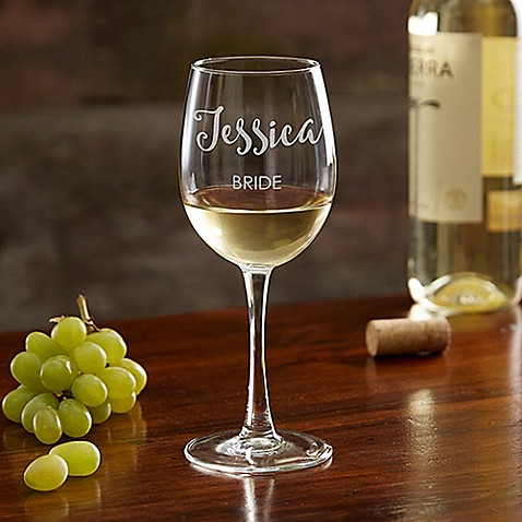 Bridal Party Engraved White Wine Glass at Bed Bath & Beyond in Cypress, TX | Tuggl