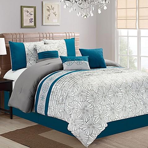 Buy Aiden Floral Embroidered 7 Piece Queen Comforter Set