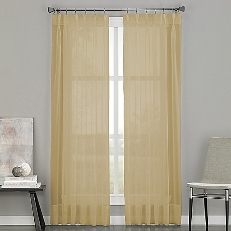 Buy Soho Voile Pinch Pleat 95 Inch Rod Pocket Window Curtain Panel In Antique From Bed Bath Beyond