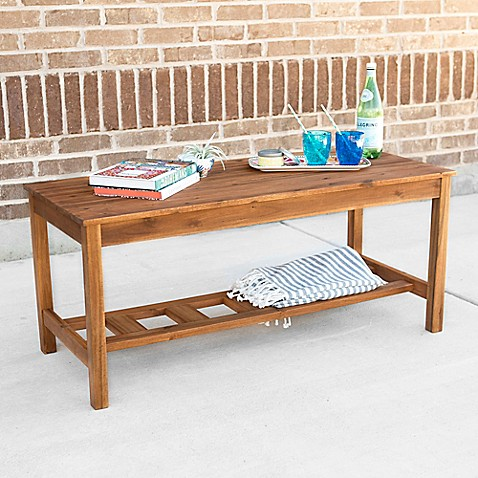 Buy walker edison rectangle acacia wood ladder base coffee for Ladder coffee table