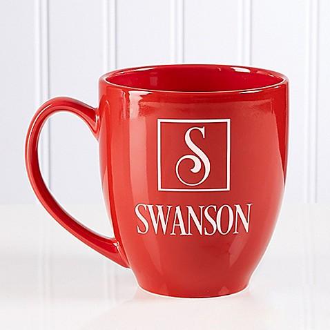 Square Monogram 14.5 oz. Red Bistro Mug at Bed Bath & Beyond in Cypress, TX | Tuggl