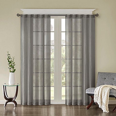 Buy Madison Park Harper Solid Crushed 63 Inch Rod Pocket Back Tab Window Curtain Panel Pair In