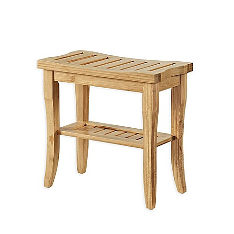 Linon Home Bracken 15-Inch Bamboo Stool with Shelf at Bed Bath & Beyond in Cypress, TX | Tuggl