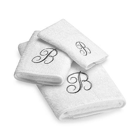 Avanti Premier Silver Script Monogram Bath Towel Collection In White Bed Bath Beyond
