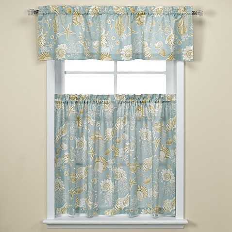 Natural shell kitchen tiers bed bath beyond for Kitchen and bathroom curtains