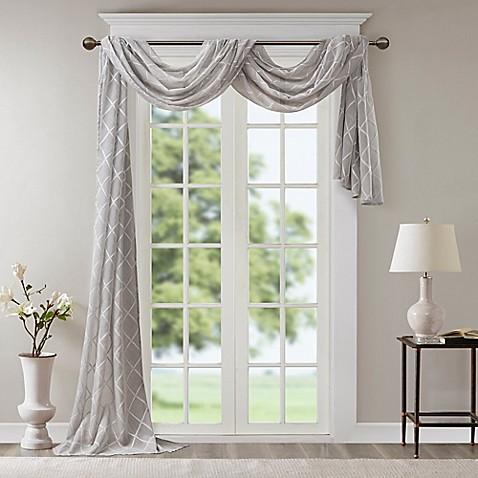 Buy Madison Park Irina Diamond Sheer 144-Inch Window Scarf ...