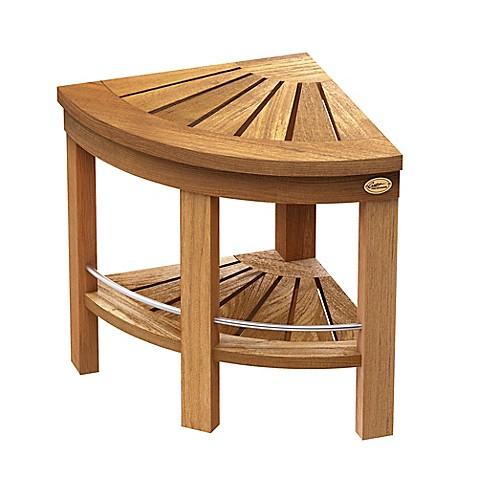 gatco® teak corner shower bench with storage shelf - bed
