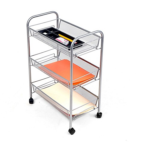 Mind Reader 3 Shelf Metal Mesh Storage Cart In Silver by Bed Bath And Beyond