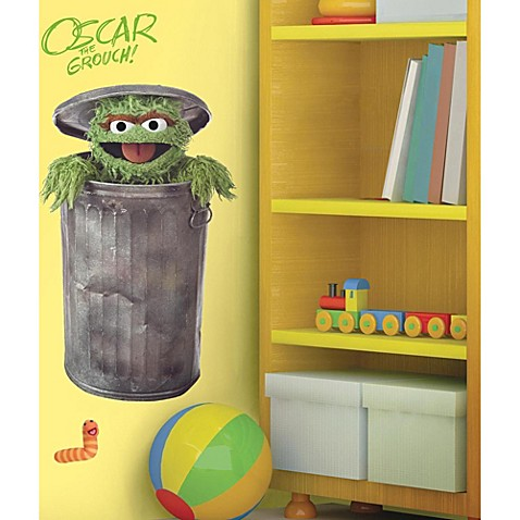 roomates sesame street giant oscar the grouch wall decal bed bath beyond. Black Bedroom Furniture Sets. Home Design Ideas