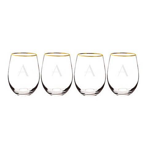 Cathy's Concepts Gold Rim Stemless Wine Glasses (Set of 4) at Bed Bath & Beyond in Cypress, TX | Tuggl